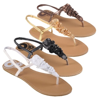 Journee Collection Women's Sequin Accent T-strap Sandals