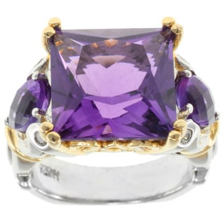 Michael Valitutti Sterling Silver Princess-cut Amethyst Ring