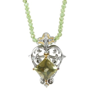 Michael Valitutti Citrine and Peridot Pendant Necklace