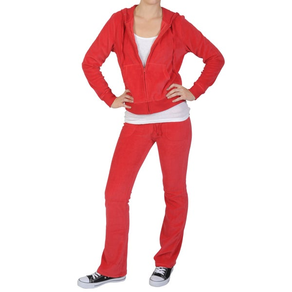 Journee Collection Women's 2-piece Red Velour Track Suit