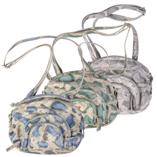 Christian Audigier Snake Print Multi-pocket Cross-body Handbag