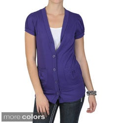 Journee Collection Junior's Short-Sleeve Button-Up Cardigan with Ribbed Waistband