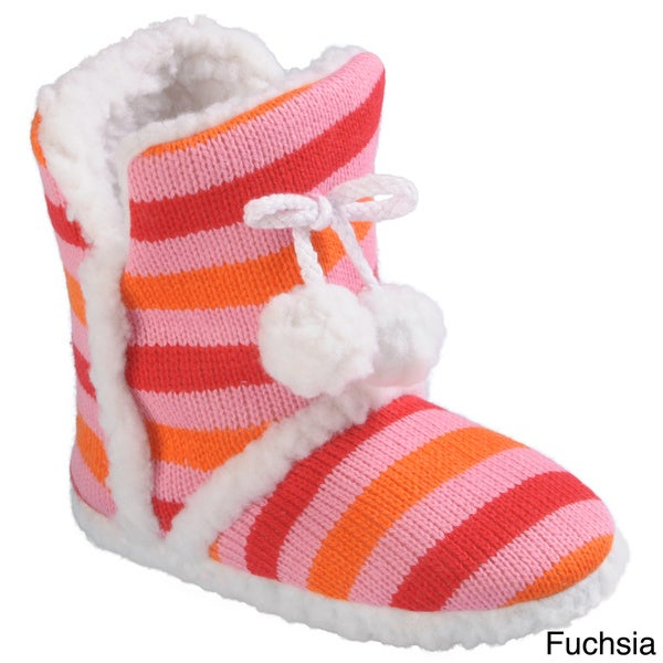 Journee Collection Kid's 'K-mimistripe' Striped Pom-pom Slipper Boots