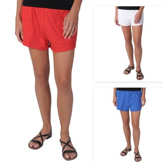 Journee Collection Juniors Machine-Washable Knit Athletic Shorts with Elastic Waist