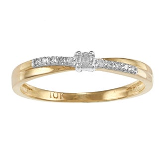 Auriya  10k Two-tone Gold 1/10ct TDW Round Diamond Promise Ring (J-K, I1-I2)