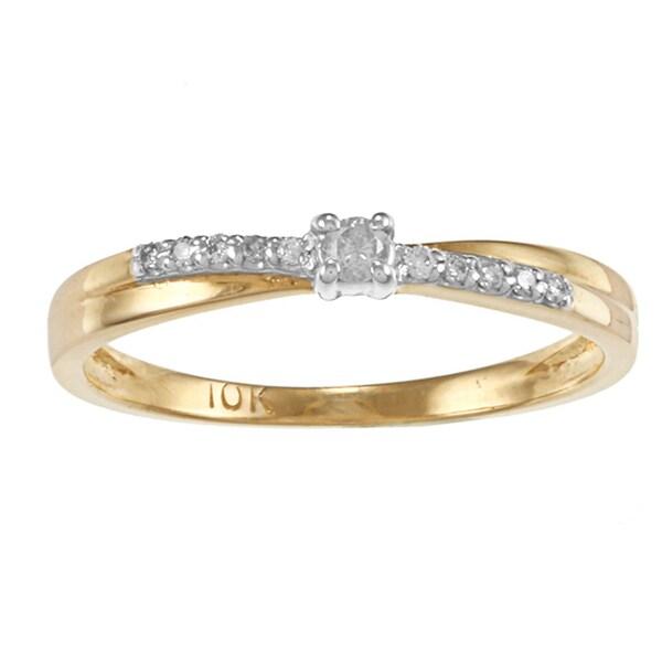 Auriya 10k Two-tone Gold 1/10ct TDW Round Diamond Promise Ring (J-K, I1-I2)
