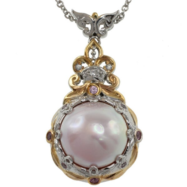 Michael Valitutti Pink Pearl and Sapphires Pendant Necklace