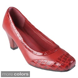 Journee Collection Women's 'Nina-02' Square Toe Croc Accent Pumps