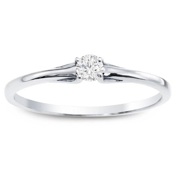 10k White Gold 1/10ct TDW Auriya Diamond Ring with Gift Box