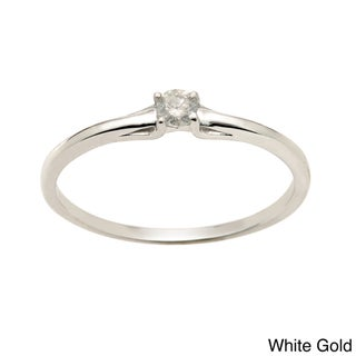 Auriya  10k Gold 1/10ct TDW Round Diamond Promise Ring (J-K, I1-I2)