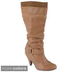 Journee Collection Women's 'Shannon-2' Round Toe Buckle Detail Boots