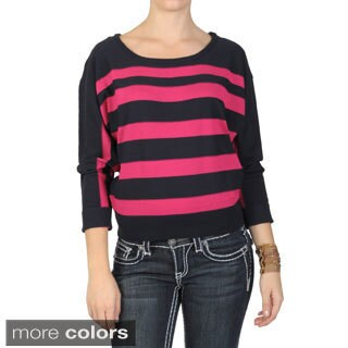 T by Hailey Jeans Co. Women's Long Sleeve Scoop Neck Striped Sweater