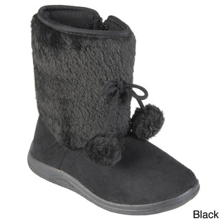 Journee Collection Kid's 'Tinette' Pom Pom Detail Faux Fur Accent Boots