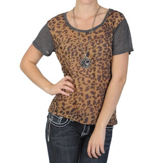 Journee Collection Women's Short-sleeve Leopard Print Hi-low Top