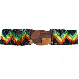 Zig Zag Rasta Beaded Belt (Indonesia)