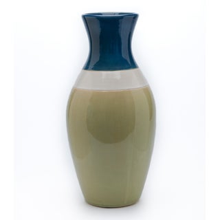 Chateau Designs Green Striped Vase
