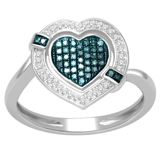 De Couer Silver 1/5ct TDW Blue and White Diamond Heart Cocktail Ring (H-I, I2-I3)