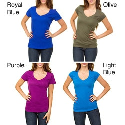 Stanzino Women's V-neck Cap Sleeve Basic Tee