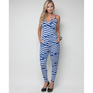 Stanzino Women&#39;s Spaghetti Strap Bandage Stripe Jumpsuit