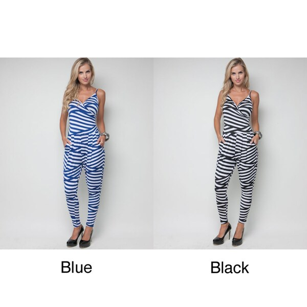 Stanzino Women's Spaghetti Strap Bandage Stripe Jumpsuit