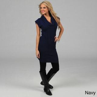 Stanzino Women's Cowl Neck Solid Sweater Dress