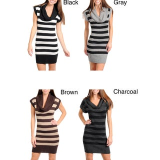 Stanzino Women's Cowl Neck Striped Sweater Dress