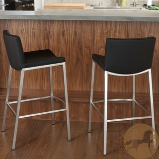 Christopher Knight Home Mauricio Black PU Barstools (Set of 2)