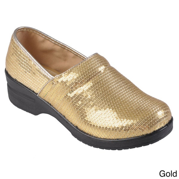 Journee Collection Women's Lightweight Sequined Clogs