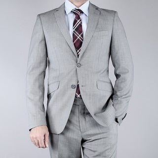 Men's Slim Fit Birdseye Grey 2-Button Wool Suit