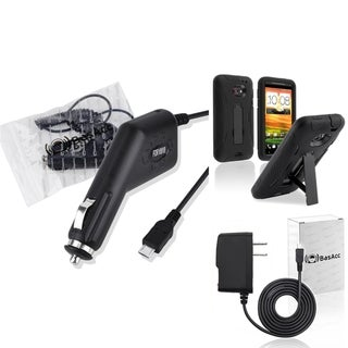 BasAcc Black/ Black Case/Travel/ Car Charger for HTC EVO 4G LTE