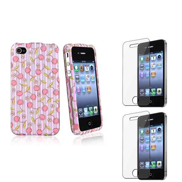 BasAcc Pink/ Purple Case/ Screen Protector for Apple® iPhone 4/ 4S