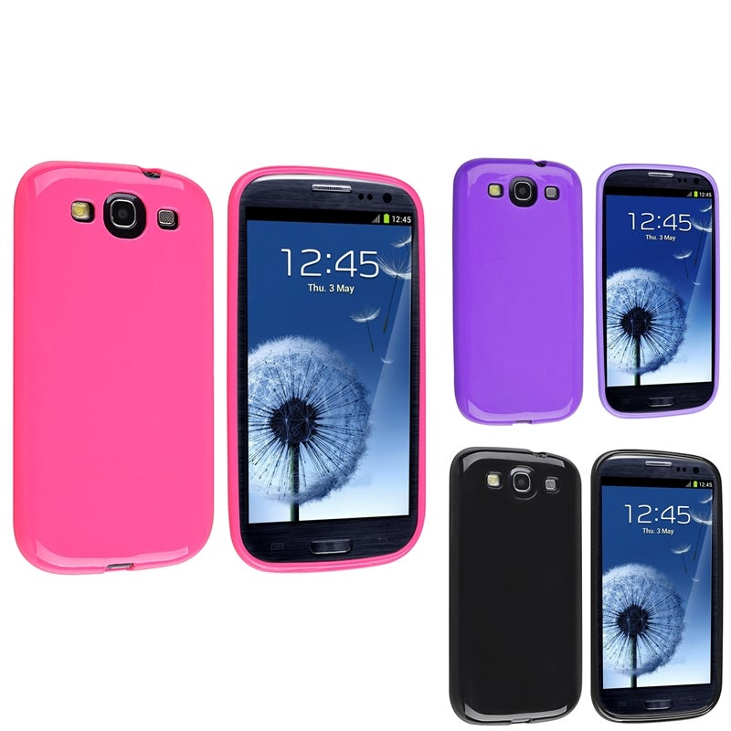 INSTEN Black/ Purple/ Hot Pink TPU Phone Case Cover for Samsung Galaxy S3
