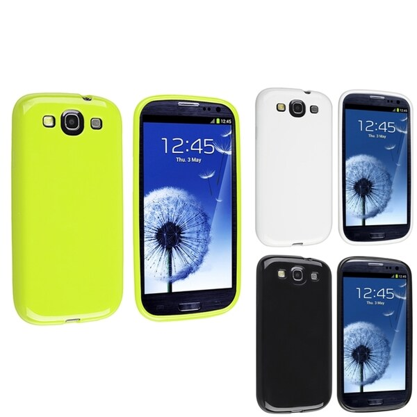 INSTEN Black/ White/ Green TPU Phone Case Cover for Samsung Galaxy S3
