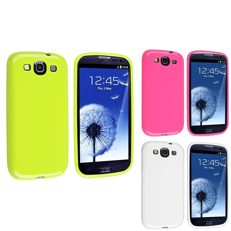 BasAcc White/ Hot Pink/ Green TPU Case for Samsung Galaxy S3