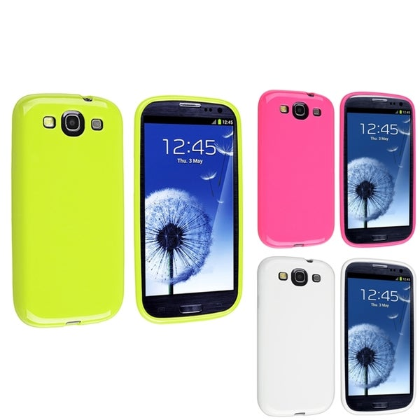 INSTEN White/ Hot Pink/ Green TPU Phone Case Cover for Samsung Galaxy S3
