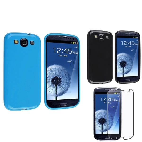 INSTEN Black/ Blue Phone Case Cover/ Screen Protector for Samsung Galaxy S3
