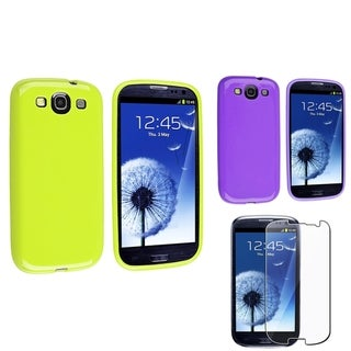 BasAcc Purple/ Green Case/ Screen Protector for Samsung� Galaxy S3