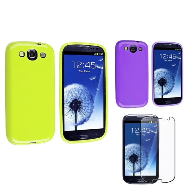 INSTEN Purple/ Green Phone Case Cover/ Screen Protector for Samsung Galaxy S3