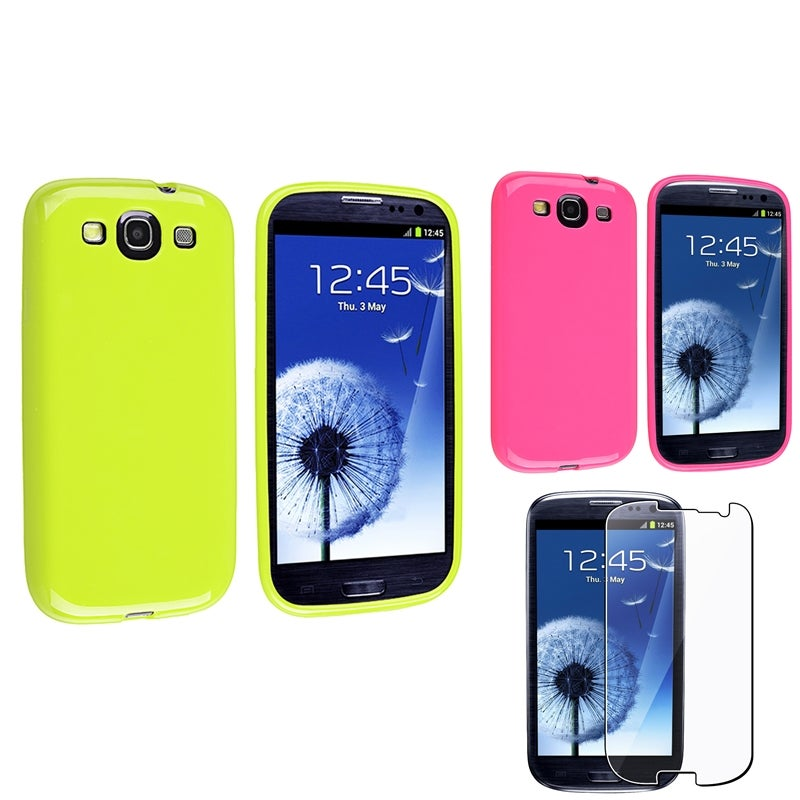 INSTEN Pink/ Green Phone Case Cover/ Screen Protector for Samsung Galaxy S3