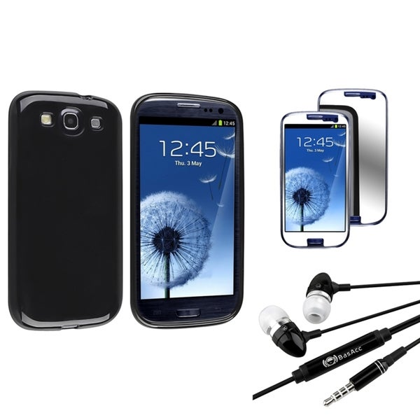 INSTEN Black Phone Case Cover/ Mirror Screen Protector/ Headset for Samsung Galaxy S3