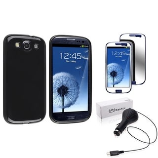 Black BasAcc Case/Screen Protector/Car Charger for Samsung Galaxy S3