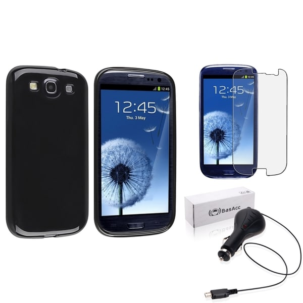 INSTEN Black TPU Phone Case Cover/ Screen Protector/ Car Charger for Samsung Galaxy S3
