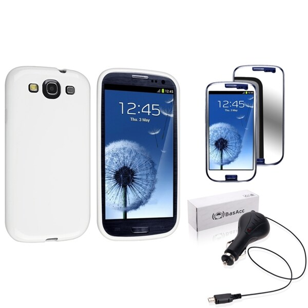 INSTEN White Phone Case Cover/ Screen Protector/ Car Charger for Samsung Galaxy S3