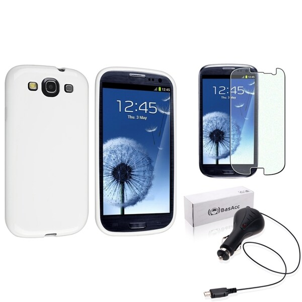 INSTEN White TPU Phone Case Cover/ Screen Protector / Car Charger for Samsung Galaxy S3