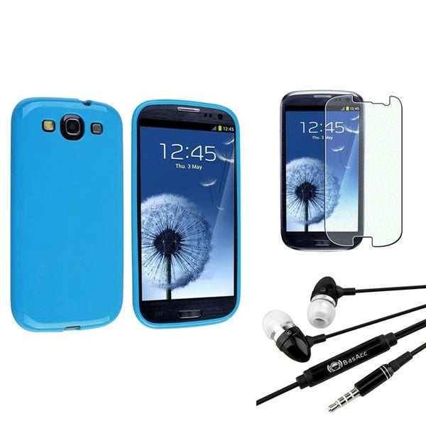 INSTEN Light Blue Case Cover/ Anti-scratch Screen Protector/ Headset for Samsung Galaxy S3