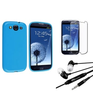 Light Blue Rubber BasAcc Case/Screen Protector/Headset for Samsung Galaxy S3