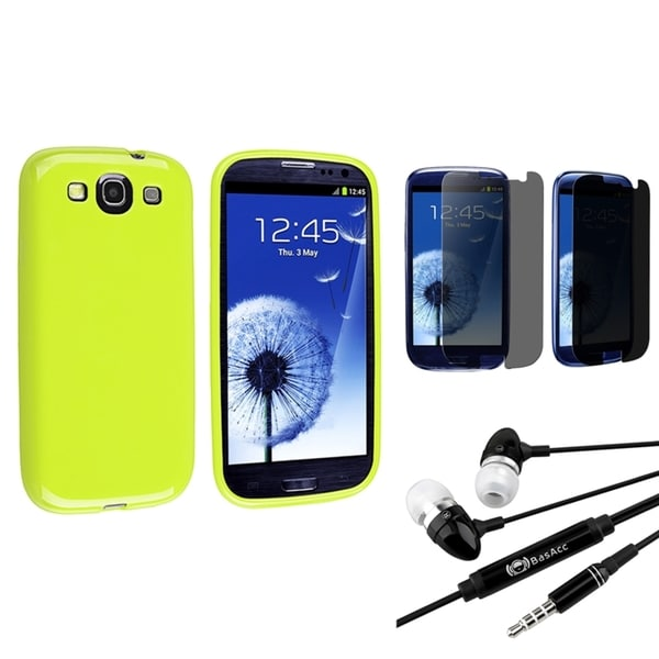 INSTEN Light Green Case Cover/ Screen Protector/ Headset for Samsung Galaxy S3