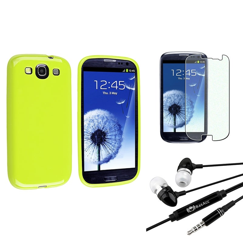 Light Green Rubber BasAcc Case/Screen Protector/Headset for Samsung Galaxy S3