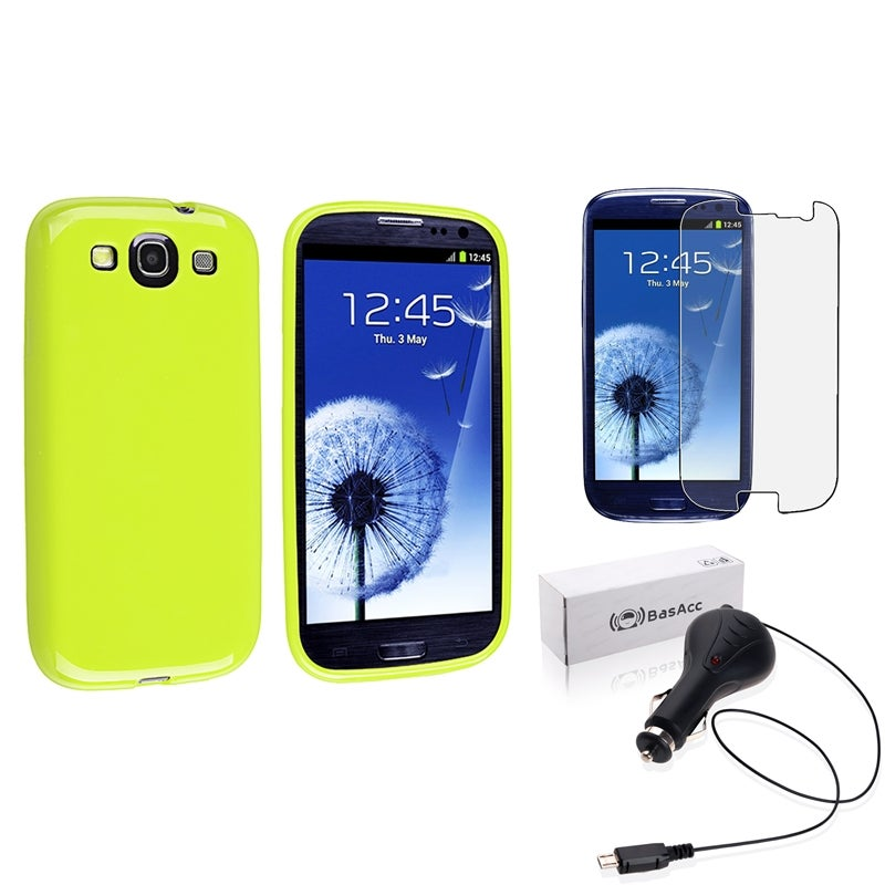 BasAcc Light Green TPU Case/Screen Protector/Car Charger for Samsung Galaxy S3