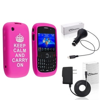 BasAcc Hot Pink Case/Travel/Car Charger for BlackBerry Curve 8520
